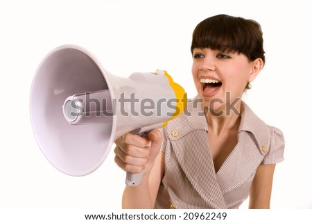 Beautiful young girl with megaphone over white - stock photo