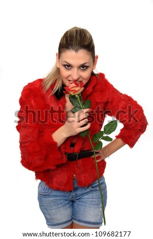 beautiful young girl with red rose  isolated on a white background
