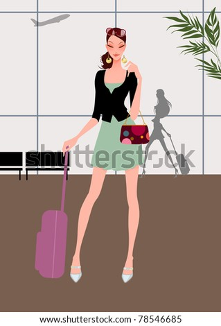 Beautiful young girl (woman) travel, pulling a luggage (baggage) and holding a small suitcase