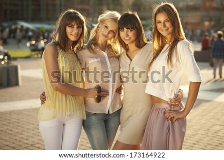 Beautiful young girls on a summer day