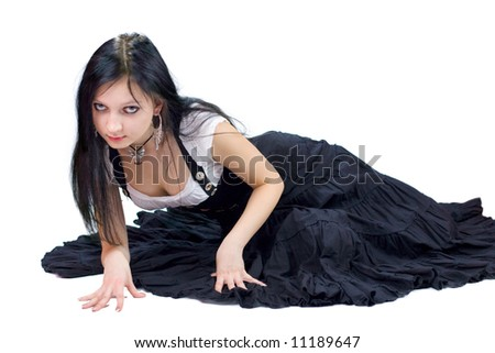 Beautiful young Gothic Girl isolated on white - stock photo