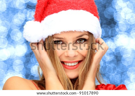 Beautiful Young Happy Christmas Woman