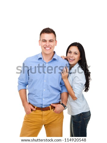 beautiful young happy couple love smiling embracing, man and woman smile looking at camera, isolated over white background