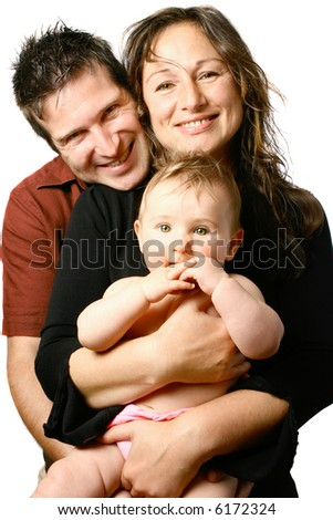 Beautiful young happy family with mom holding bouncing baby girl, isolated on white.