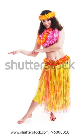 Beautiful young Hawaii dancer isolated on white