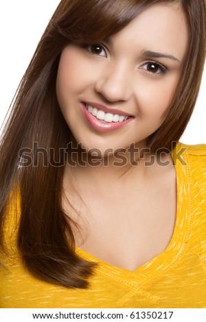 Beautiful young hispanic girl smiling
