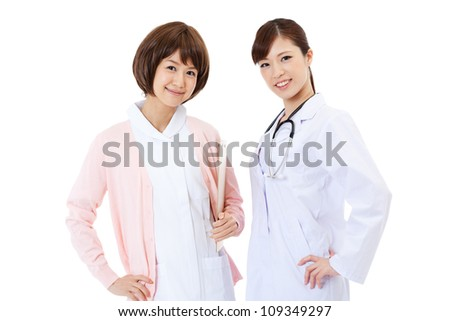 Beautiful young hospital staff. Portrait of asian.