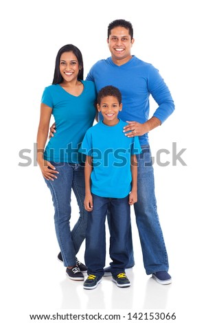 beautiful young indian family isolated on white background