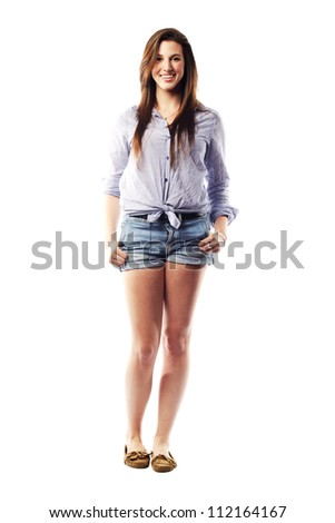 Beautiful young lady with amazing smile in summer clothes