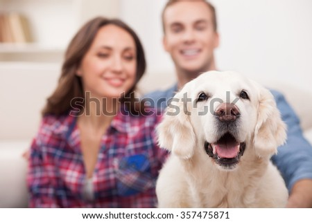 Beautiful young loving couple is playing with dog at home. They are sitting and embracing. The man and woman are looking at the animal with love and smiling. Focus on a pet