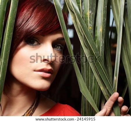 Beautiful young model looking at the camera