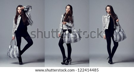 beautiful young model posing in leather jacket with leather bag against gray background