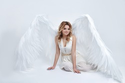beautiful young model with big angel wings sitting in the studio and looking at the camera. white background.