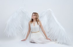 beautiful young model with big angel wings sitting in the studio and looking up. white background.