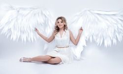 beautiful young model with open angel wings sitting in the studio. white background