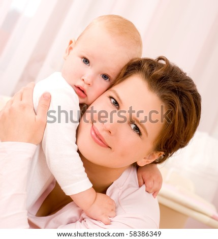Beautiful young mum and her daughter