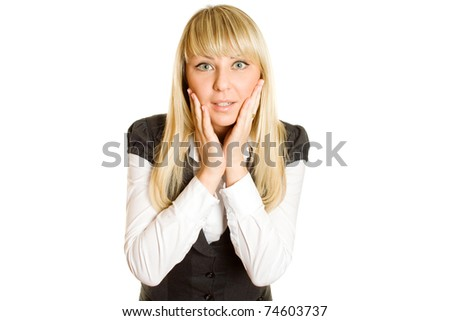 Beautiful young professional business woman expressed surprise, her hands lying on her face. Isolated on a white background