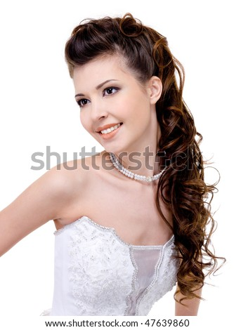 Beautiful Wedding Hairstyles on Photo   Beautiful Young Smiling Bride With Modern Wedding Hairstyle