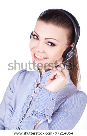 Beautiful young smiling cheerful woman with headphones with microphone