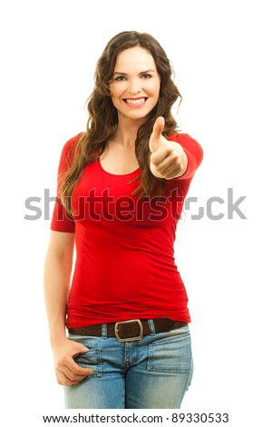 Beautiful young smiling woman giving thumbs up. Isolated over white.