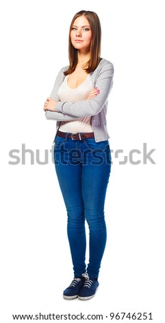 beautiful young student woman on white background