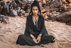 beautiful young stylish tribal woman outdoors portrait