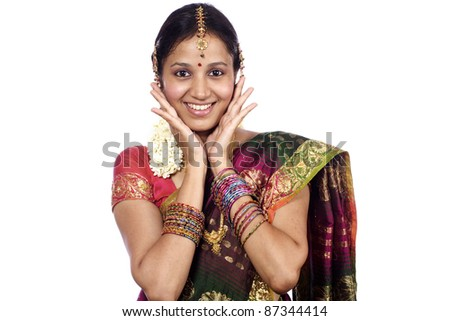 Beautiful young surprised indian woman