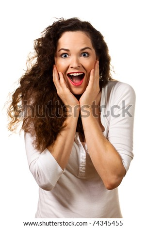 Beautiful young surprised woman looking at camera. Isolated over white.