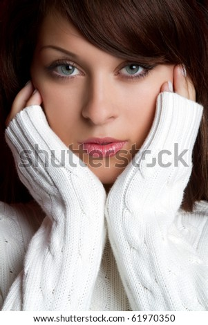 Beautiful young winter sweater woman