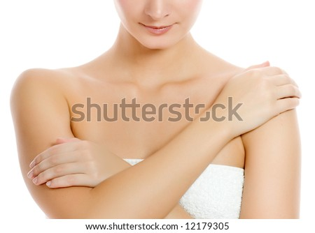 Beautiful young woman after shower. Isolated on white background - stock photo