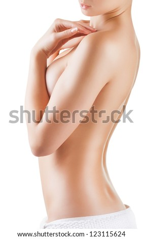 Beautiful young woman after shower isolated on white background - stock photo