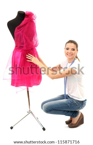 beautiful young woman and mannequin isolated on white - stock photo