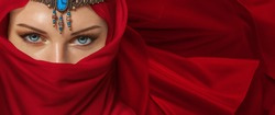 Beautiful young woman arabic style portrait with jewelry