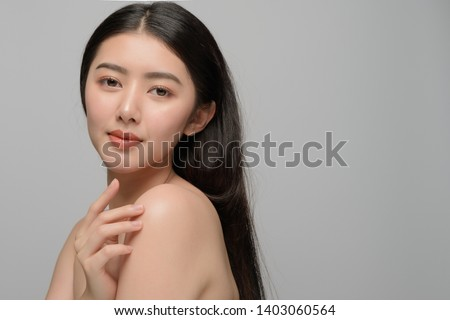 Beautiful young woman asian with clean perfect skin. Portrait model natural make up. Spa, skincare and health wellness #1403060564