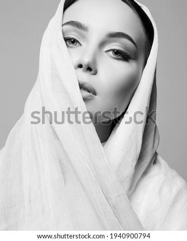 beautiful young woman. beauty girl in sari. fashion oriental black and white portrait Zdjęcia stock ©