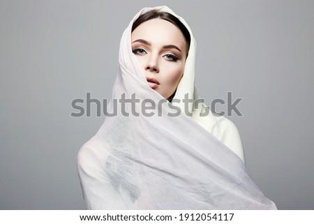 beautiful young woman. beauty girl in sari. fashion oriental style model Zdjęcia stock ©