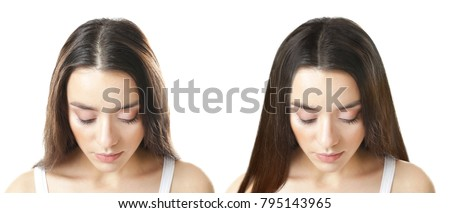 Beautiful young woman before and after procedure of hair extension in professional salon on white background