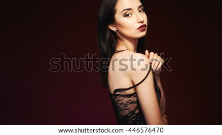 beautiful young woman close-up portrait #446576470