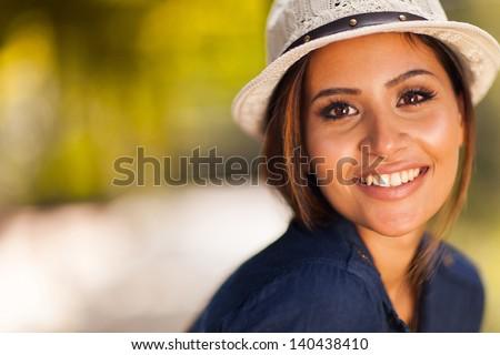 beautiful young woman closeup portrait outdoors