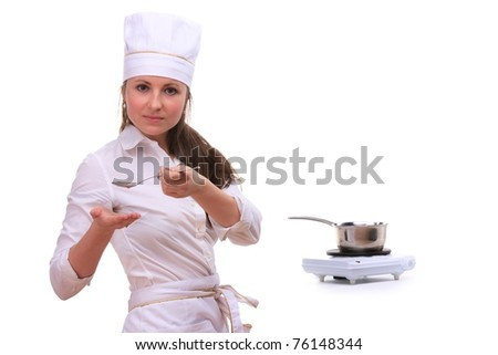Beautiful young woman cooking isolated white background
