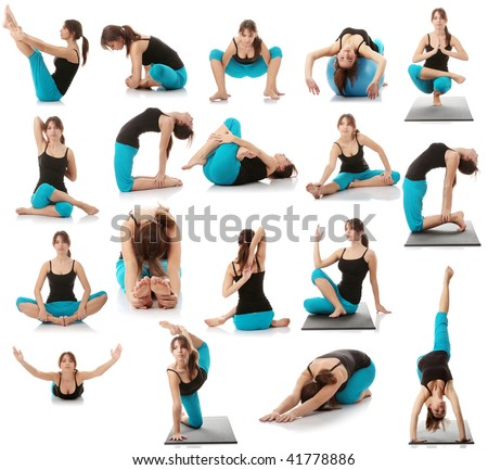 Beautiful young woman doing yoga exercise isolated