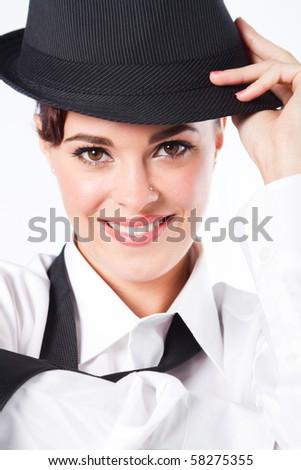 beautiful young woman dressing in men's clothing