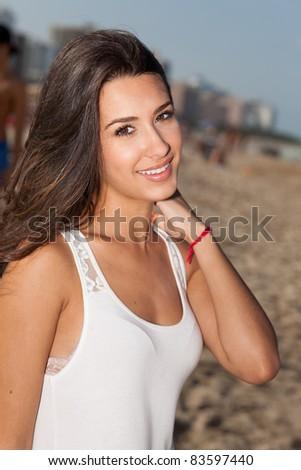 Beautiful young woman enjoying South Beach in Miami.