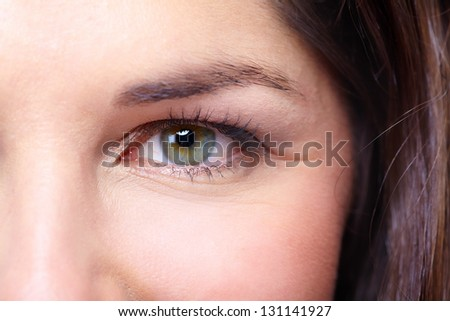 Beautiful young woman eye close-up. Vision.