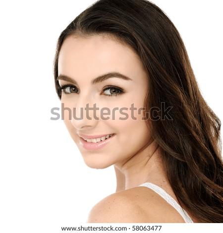 Beautiful young woman face cool Close up.