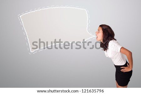 beautiful young woman gesturing with abstract speech bubble copy space