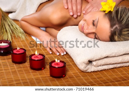 Beautiful young woman getting a massage