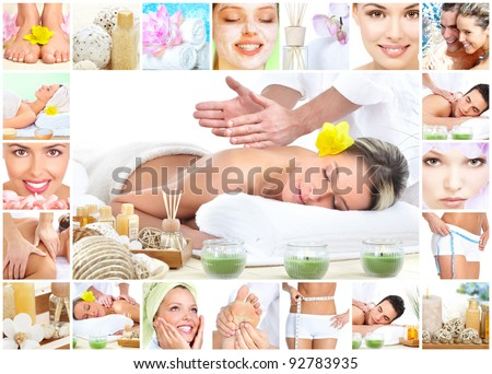 Beautiful young woman getting spa massage. Body care.