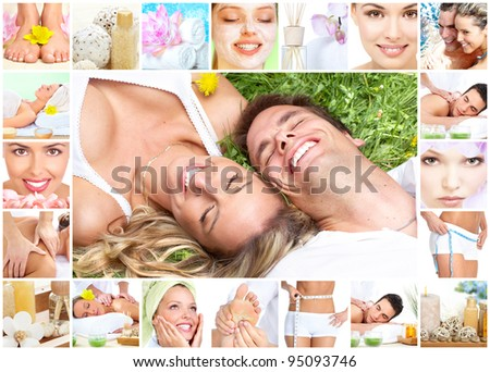 Beautiful young woman getting spa massage collage. Body care.