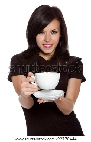 beautiful young woman hold cup of coffee or tea, wearing knitted brown sweater, happy smile sensual looking at camera, isolated over white background series photo